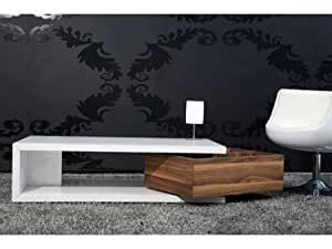 Table basse design Smart noyer/noir Couleur Noyer/Blanc