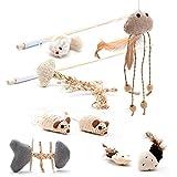 Set di 8pezzi Premium giocattolo gatto, 3gioco pesca ,2Sisal topi ,2peluche, 1X Pesce