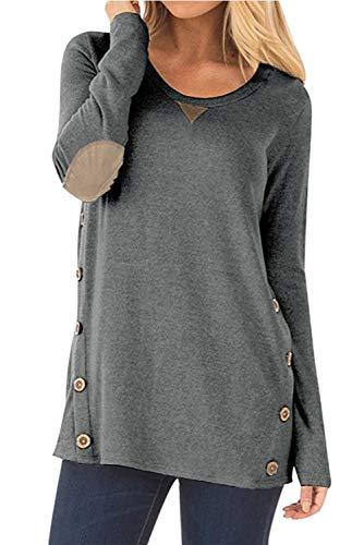 Pullover Damen Langarm Obeiteile Lose Sweatshirt Winter Bluse T Shirt Grau S