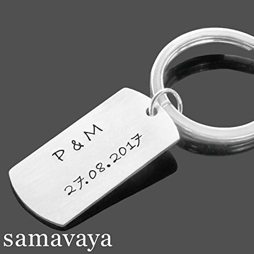 Schlüsselanhänger DOG TAG 925 Silber Anhänger mit Gravur Geschenk Mann Jahrestag Gravur (Personalisierte Dog Tags Für Freund)