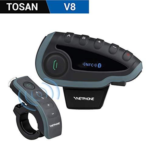 v8 Motorradhelm Intercom, Bluetooth Motorrad Headset Gegensprechanlage mit FM Kommunikation System Motorradhelm-Intercom-Reichweite bis zu 1200 Metern / 5 Fahrer Vollduplex Motorrad Intercom