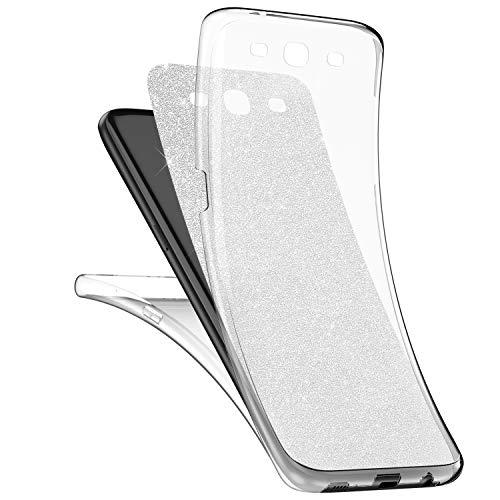 Preisvergleich Produktbild kompatibel mit Galaxy S3 Hülle,Galaxy S3 Full Body 360 Grad TPU Silikon Crystal Case,Glänzend Glitzer Transparent Vorne Hinten Komplett Schutzhülle TPU Bumper Case Etui - Silber