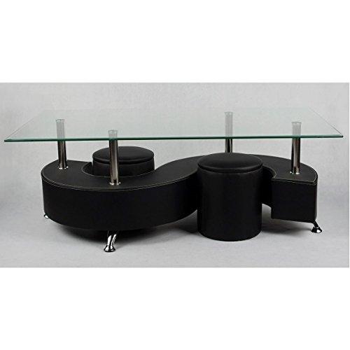 Table basse avec plateau en verre trempé et 2 poufs en PVC noir