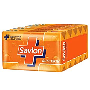 Savlon Glycerin Germ Protection Bathing Soap Bar, 125g (Pack of 5)