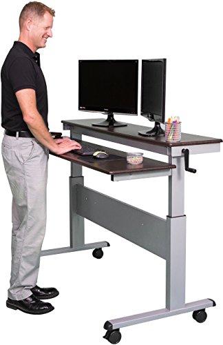 Höhenverstellbarer Schreibtisch - Zwei-Klassen- (Nussbaum dunkel, Schreibtisch Länge: 150cm) -
