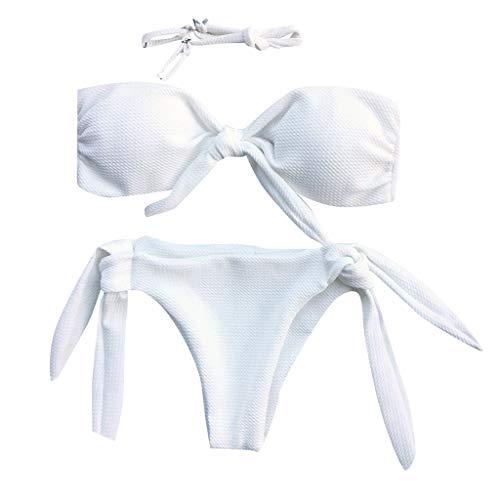 Junjie Damen Frauen Sexy Bikini Set Push-Up Gepolsterte Bow Knot Ärmelloses Beiläufiges Badeanzug Beachwear Bikini Set Schwarz, Weiß, Weinrot, Pink