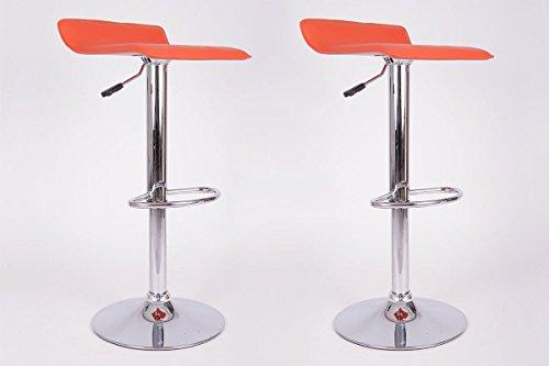 Sgabello da bar arancione finta pelle ruotabile regolabile in