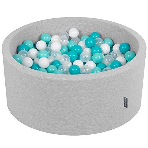 Kiddymoon 90x40cm/300 palline ∅ 7cm piscina di palline colorate per bambini tondo fabbricato in eu, grigio ch:turchese ch/bianco/trasparente/turchese