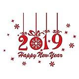 Yazidan Neujahr FröHliche Weihnachten Schneeflocke Mauer Aufkleber Zuhause GeschäFt Abziehbilder Dekor Diy Hintergrund Glas Geschenk Dekorationen Abziehbild Briefe Kunst WandgemäLde(rot)