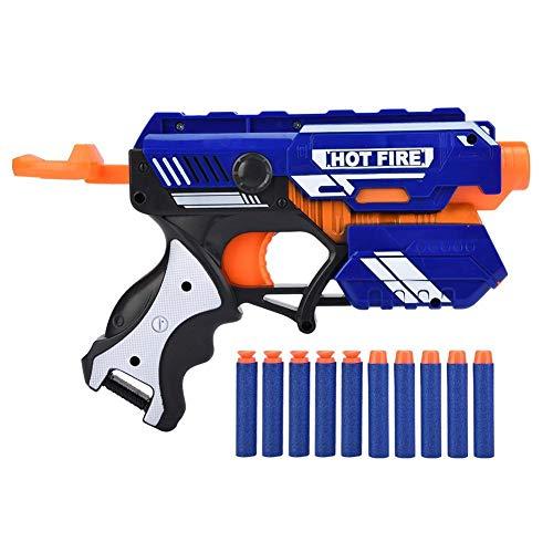 Dilwe Pistola Giocattolo Bullet Morbido, Pistola Proiettile in Gomma ABS con pallottole morbide proiettili a Testa Tonda e Caricatore per Gioco Indoor Party
