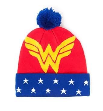 Wonder Woman Logo Tricot Bonnet Pompon