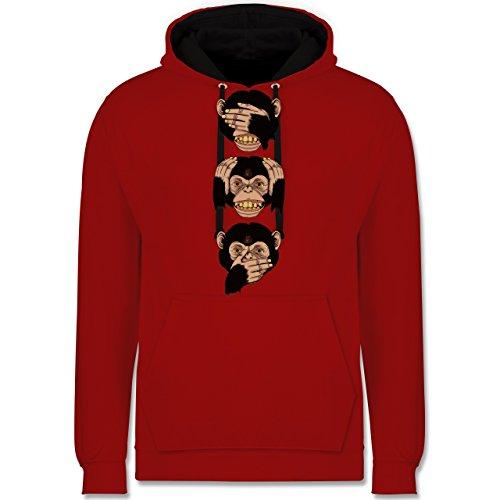Statement Shirts - Drei Affen - Sanzaru - Kontrast Hoodie Rot/Schwarz