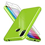 LeYi Cover Xiaomi Redmi Note7 con Vetro Temperato[2 Pack], Custodia Silicone TPU Gel Bumper Ultra Slim Morbida Scocca Sottile Antiurto Anti-Graffio Antiscivolo Case per Cellulare Redmi Note7,Verde