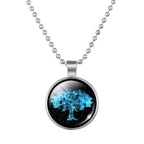 Jiayiqi Nouveauté Arbre De Vie Pendentif Collier Perles Plaquées Argent Chaîne Collier Pour Femme NO.1