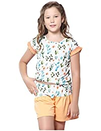 Night Suit for Girls - White and Orange Color - Cotton Material - Printed Top and Shorts Set - Half Sleeves Top - Available for 8/10/12/14 Year Old Girls - Casual wear for Kids