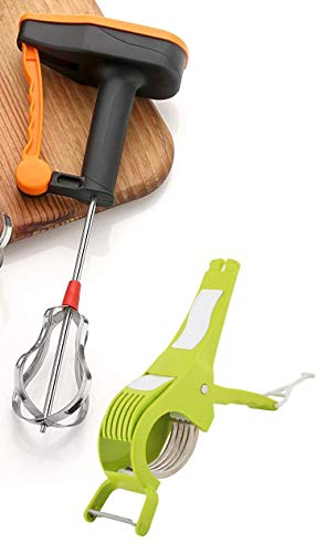 Yellow Leaf Products Hand Blender and Beater + Vegetable Cutter | Milk Lassi Maker | Egg Beater | Mixer | Shaker (Colour Assorted)