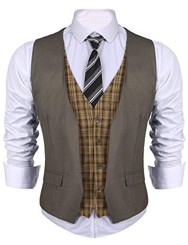 Qioti Herren Weste Anzugweste Basic Slim Fit Western Weste Sakkos Polyester Business Basic Weste