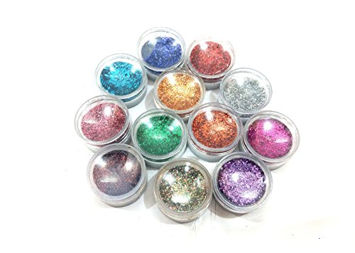 GLAMDOLL MAKE A GLAMOUR FROM EYECARE 12 COLOR THICK SHIMMER GLITTER FOR BEAUTY QUEEN