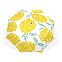 Umbrella Customize 3 Folds Fruit Lemon Seamless Pattern Yellow Windproof Auto Open Close Lightweight Anti-UV