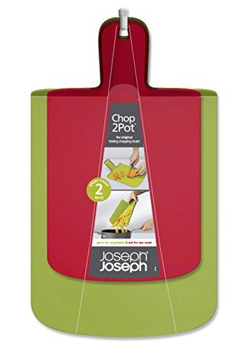 Joseph Joseph Chop2Pot Küchenbrett, Polypropylene, TPR, Rot/ Grün, 48 x 27 x 3 cm, 2-Einheiten (Chop2pot Schneidebrett)