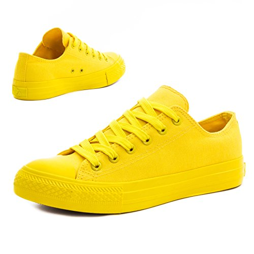 Klassische Unisex Damen Herren Schuhe Low High Top Sneaker Turnschuhe All Yellow