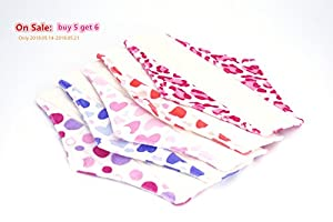 Bamboo Reusable Sanitary Pads Pattern with Heart Print Best Cloth Menstrual Pads for Sale Organic Cotton Cloth Pads Skin Friendly Best Natural Feminine Pads Eco Friendly Washable Period Pads Easy to Clean Female Sanitary Napkins for Beginners (Pack of 5 P