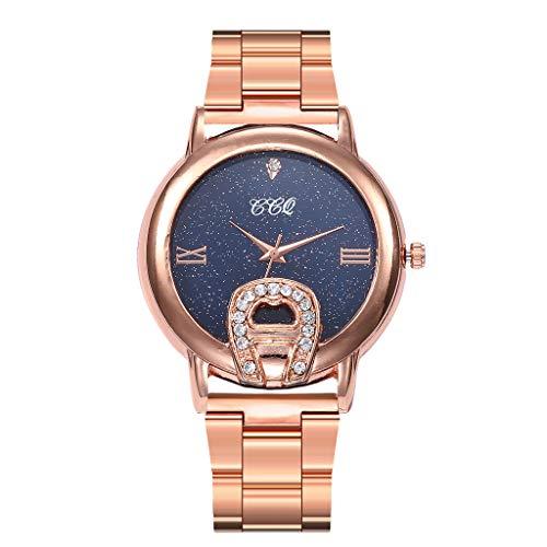 dd6c9f561720 Mujer Casual Oro Rosa Reloj De Pulsera Analógico Acero Inoxidable Banda Reloj  De Diamantes De Imitacion Lujo Elegante Relojes
