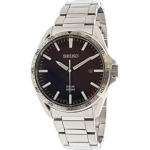 Seiko Herren Analog Solar Uhr mit massives Edelstahl Armband SNE483P1 (Seiko Solar Herren-uhr)