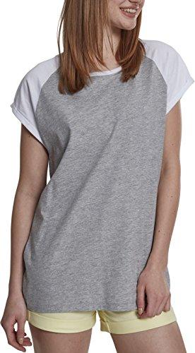 Urban Classics Damen Ladies Contrast Raglan Tee T-Shirt, Grey/White, L - Wie Womens Raglan-Ärmel