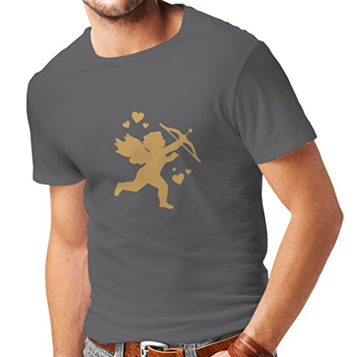 lepni.me Männer T-Shirt Valentinstag Amor mit Pfeil und Bogen Sexy Valentinstag Outfits (Large Graphit Gold)