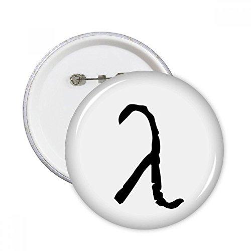 Runde Anstecknadel mit schwarzer Silhouette eines Lambda-Buchstaben, Kleidungsdekoration, 5 Stück L