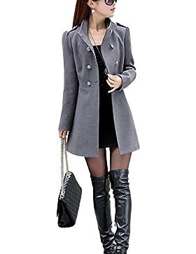Mujer Invierno Abrigo de Lana de Botonadura Doble pecho Manga larga Chaqueta mezclada de lana Gris M