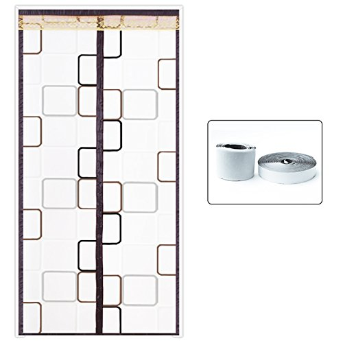 QTQA Klimaanlage Vorhang Sommer Isolierung Winddicht Transparente Kunststoff-Küche Rauchschutz Schlafzimmer Partition Klimaanlage Free Punch Anti-Mücke,Brown_100x215cm -