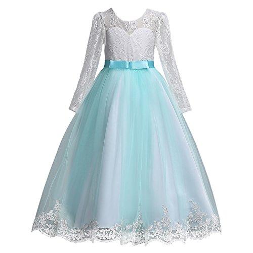 OBEEII Mädchen Kleider festlich Lang Brautjungfern Party Kleid Hochzeit Blumenmädchen Kleid...