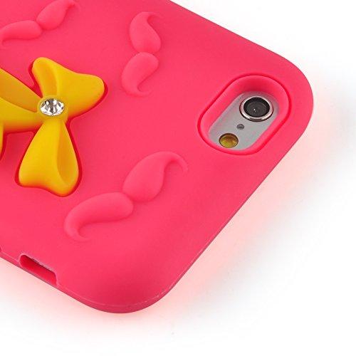 JAMMYLIZARD | Stöckelschuh 3D Hülle für [ iPhone 6 Plus & 6s Plus 5.5 Zoll ] aus mattem Silikon, ROSA mit GELB Stöckelschuh - ROSA mit GELB