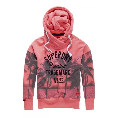 Sweat Superdry Photographic Slouch Hood Fluro Neon Rose