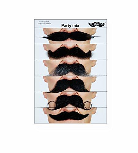 Mustaches Selbstklebende Fälscher Schnurrbart Neuheit Falsch Gesichtsbehaarung Kostümzubehör Party Eingestellt Wertpaket für Erwachsene ()