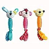 MULOVE 3 Stück TPR und Plüsch Hundespielzeug, Langlebig Kauspielzeug Quietschspielzeug und Interaktives Spielzeug für Kleine und Mittelgroße Welpen