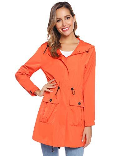 Abollria giacca impermeabile da donna antipioggia e antivento con cappuccio e tasche comode