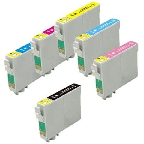 Pack of 6 Ink Cartridges for Epson Stylus Photo R200, R220, R300, R300m, R320, R340, RX500, RX600, RX620 (T048- BK, C, M, Y, LC, LM) by US Ink