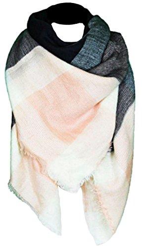 Wolle Doppel-tuch (CAPRIUM XXL Damen Schal Kariert übergroßer quadratisch Deckenschal Karo Tartan Streifen Plaid Muster Oversized Fransen Poncho (Schwarz Rosa))