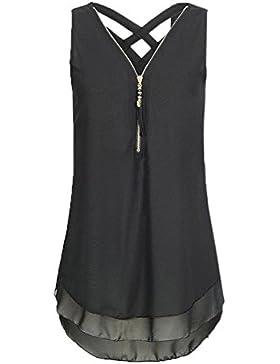 Yuson Girl Blusa Mujeres Sexy con Cuello en V Blusa de Gasa Tank Top sin Mangas Zip Casual Camisas Tops