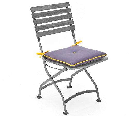 VTB Hambiente Stuhlkissen 40 x 40 cm Sitzkissen für Gartenstühle waschbar Farbe pflaume
