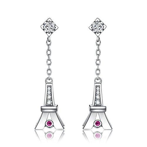 JewelryPalace Romance Eiffelturm Erstellt Rubin Tropfen Ohrringe 925 Sterling Silber (Ohrringe Eiffelturm)