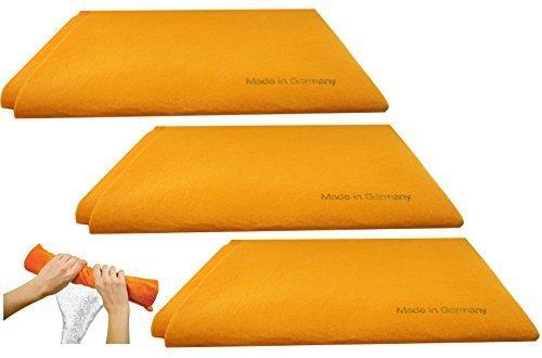 3pk Original Deutsche Shammy Handtücher Super Saugfähig chamois Reinigungstücher für Home Küche Badezimmer Auto Pet Flecken und mehr groß Größe 50,8x 68,6cm Orange (Hunde Für Pet-tücher Große)