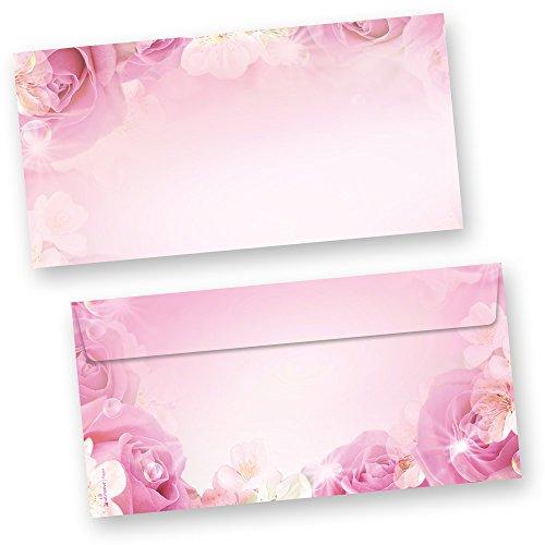 Briefumschläge Rosen (50 Stück) DIN lang Umschlag, beidseitig mit Pink Rosa Rose Motiv