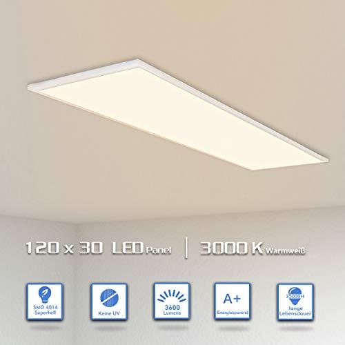 OUBO LED Panel 120x30 Deckenleuchte Warmweiß 36W, 3600lm, 3000K Wandleuchte dünn Ultraslim Silberrahmen, inkl. Netzteil