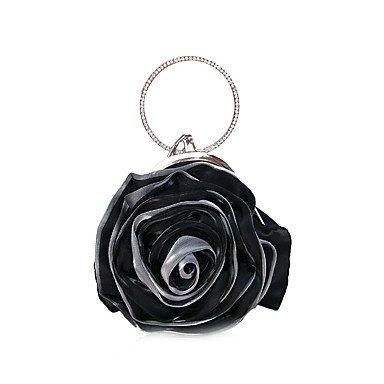 Frauen in Handarbeit Satin Blume Abend Tasche Black