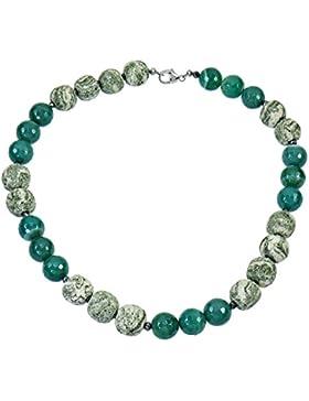 YVESSE Damen-Halskette Collier Sterling-Silber 925 rhodiniert Achat grün Lavastein 50cm Karabiner