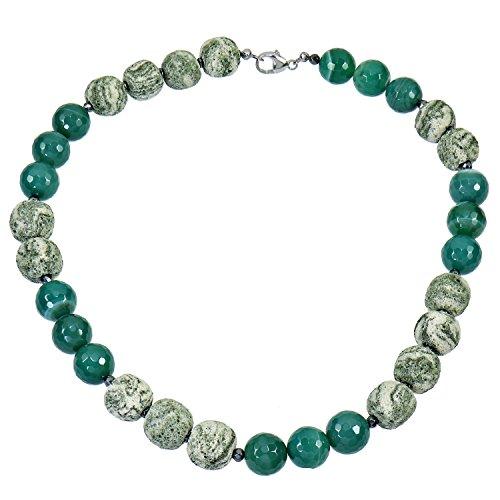 Yvesse Damen Halskette Collier Kette für Frauen Sterling Silber 925 rhodiniert Achat grün Lavastein 50cm Karabiner Heilstein Geschenk